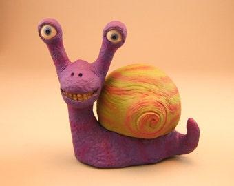 Snail Fantasy Purple Clay Sculpture