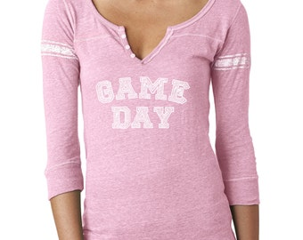 Game Day Henley Tee. Football Shirt. Football Tee. Game Day Shirt. Tailgate Shirt. Football Raglan. Girly Football Tee. Football Mom Shirt.