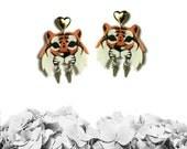 Tiger earrings No. 2, warrior tiger earrings, animal jewelry, tiger jewelry, wild cat - PLASTIC