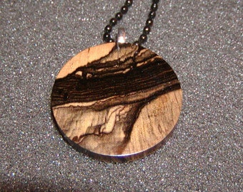 "Exotic Black & White Ebony Wood Pendant With 24"" Black Ball Chain Necklace"