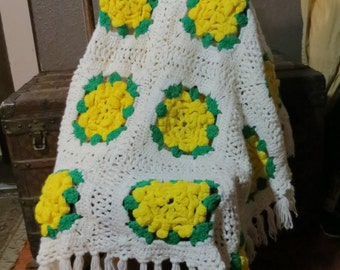 "Hand Made Vintage  Knit Crochet Afghan,  Throw Blanket Afghan Granny Squares 55"" x  45""  3-D flowers Roses Yellow Green  White Fringed"