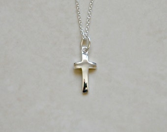 Silver cross necklace, sterling silver cross pendant, small cross charm, little cross, baptism, confirmation gift, simple jewelry - Julie