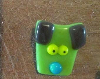 Green Dog Brooch Fused Glass