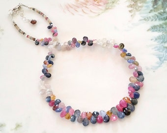 Multi Sapphire Necklace One of a Kind Sapphire Briolette Gemstone Necklace
