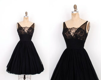 Vintage 1950s Dress / 50s Silk Chiffon and Lace Party Dress / Black (extra Small XS)