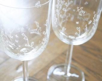 Valentines Hand Engraved Bohemia Crystal Heart Vine & Forest Animal Wine Glasses