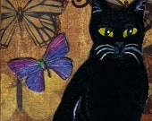 "Black Cat  ACEO, Art Trading Card, Kitty Collage Card, Tiny  and Collectible, One of a Kind  Miniature Mixed Media Painting ""Kitty"""