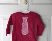 Kids Valentine's Day Shirt (2T), Boys Valentine's Day Shirt, Pink Heart Necktie Valentine's Day Shirt, Girls Valentine's Day Shirt