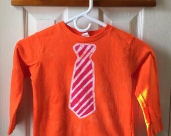 Kids Necktie Shirt (5/6), Kids Tie Shirt, Orange Tie Shirt, Red Tie Shirt, Funny Kids Shirt, Kids Dress Up Shirt, Boys Tie Shirt