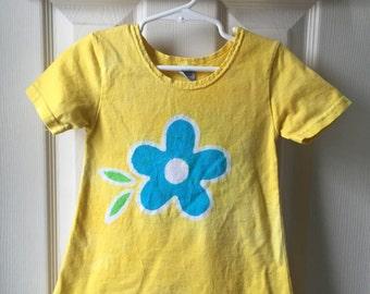 Yellow Girls Dress (2T), Flower Girls Dress, Girls Flower Dress, Girls Batik Dress, Batik Flower Dress, Blue Flower Dress, Easter Dress