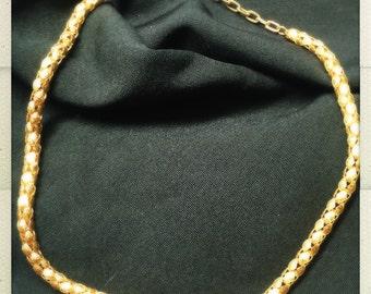 Gold Tone Bubble Box Chain Nacklace