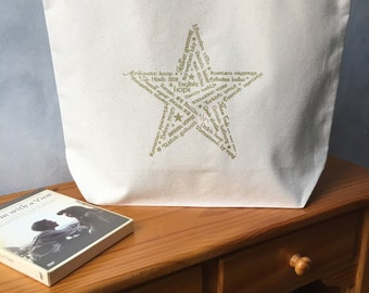"CLEARANCE - Star of Hope - Gold Ink on a Natural Carryall Tote - cotton canvas - Americana - LAST ONE -  More info in ""Item Details"""