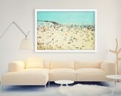 Large Beach Print // Large Scale Beach People Photography // Aerial Beach Photography // Turquoise Teal Sand // Coney Island Beachscape