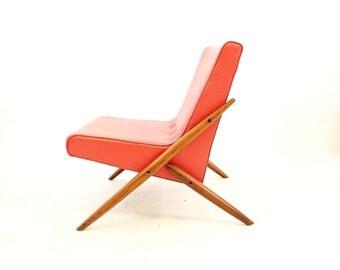 Vintage Mid Century Chair In Orange Vinyl