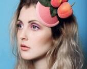 Hair accessory bride Sweet Peach and Bee Fascinator wedding summer spring kawaii headwear comb coral pink girls women fashion accessory