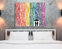 LGBT Art, Gay Wedding Gift, Melted Crayon Art, Gay Couple Gift For Boyfriend, Rainbow Painting, Silhouette Rain Painting, Wax Painting 22x28