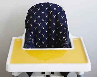 IKEA Antilop Highchair Cover // Navy Gold Deer Head // High Chair Cover for the PYTTIG Cushion // Pillow Slipcover