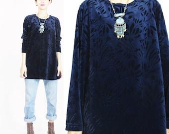 90s Burnout Velvet Shirt Navy Velvet Top Vintage Womens Floral Velvet Shirt Tunic Blouse Long Sleeve Velvet Top Pullover Stretchy Top (M/L)