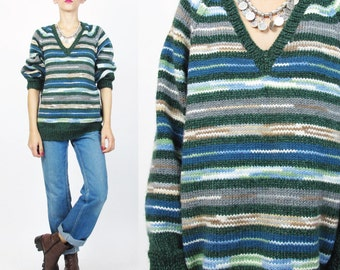 Green Striped Sweater Vintage Slouchy V Neck Sweater Striped Slouchy Pullover Jumper Forest Green Loose Knit Winter Womens Sweater (M/L)
