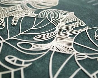 Ketubah Papercut by Jennifer Raichman - Tropical Flora