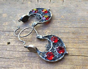 Vintage Mexican silver filigree arracada hoop earrings with red rhinestones, Spanish earrings, Mexican jewelry, Valentines Day gift for her