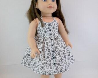 18 inch  Doll  Dress Fits American Girl Doll White  Halter Dress Black  Flowers Toys