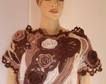 Boho Chic Ivory Beige Brown Freeform Crochet Scarf Shawl Cape Wrap Neckwarmer, Bohemian knit scarf shawl, Winter accessories, Art to wear