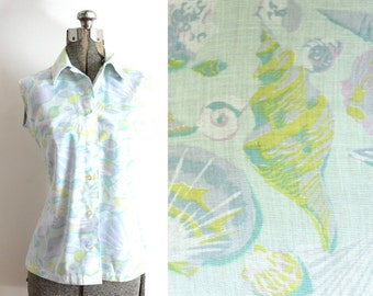 1960s Novelty Print Blouse / 60s Blouse / 1960s Seashell Print Blouse