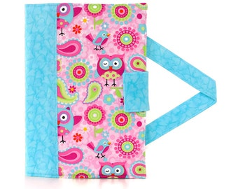 Paisley Owls and Hearts Crayon Artist Case with option to add a name, Art wallet, Crayon holder, Crayon wallet, Crayons and paper included