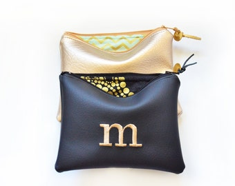 Personalized Gift Idea for Her Monogram Clutch Set Purse Custom Women Pouch Gold Black Faux Leather Metallic Makeup Bag Wedding