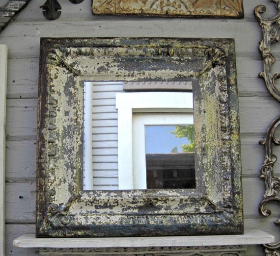 Vintage Tin Tile Mirror Antique Ceiling Tin Architectural