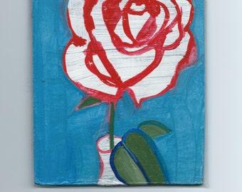 Red & White Rose Original Art Acrylic Painting by Rina Miriam Drescher