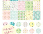 Printable Floral PLANNER stickers! - Digital File Instant Download- Erin Condren, block and circle stickers, pastels