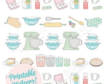 Printable Vintage BAKING stickers! - Digital File Instant Download- mixer, spatula, pie, four, mixing bowls, hand drawn