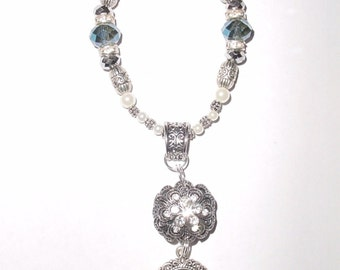 Wedding Bouquet Memorial Photo Old World Charm Silver Layered Flower Blue Crystals Pearls Tibetan Beads - FREE SHIPPING