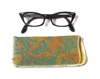 vintage 1950's NOS eyeglass case soft damacus silk lined eye glass eyewear mid century modern retro accessories accessory teal gold floral