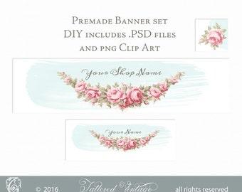 Pink ROSeS Garland PNG CliP ArT Editable PSD Premade Banner Set DIY Instant download