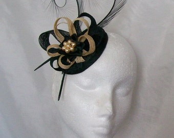 Black and Pale Gold Pheasant Curl Feather Sinamay Loop & Pearl Fascinator Mini Hat - Made To Order for a Wedding or the Derby