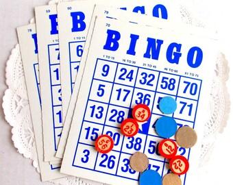 Vintage Bingo Cards / Game Pieces / 15 Pieces / Junk Journal