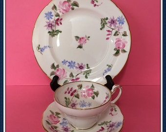 Foley Bone China Tea Cup Set, 3 Piece, Saucer, Plate, Pattern Elaine, Pink Roses, England, 1948 to 1963