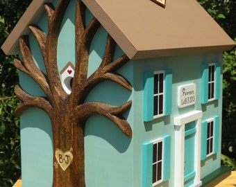 Large Wedding Card Box Birdhouse with Heart Carved Tree