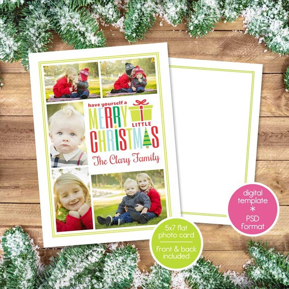 Christmas Card Template for Photographers - Christmas Photo Card - Merry Little Christmas Photo Collage - Photo Christmas Card Template