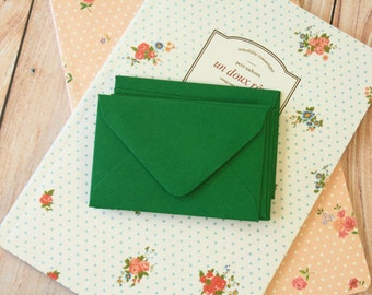FOREST Green Coloured Mini Envelopes & Note Cards 10pc set