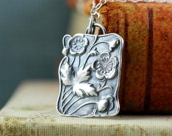 Cherry Blossom Necklace - Plum Blossom Flower Necklace - Strength Courage - Sterling Silver Handmade Asian Necklace Art Nouveau