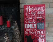 """Making A List/Christmas Decor/Christmas Sign/Santa Sign/Red Sign/Wood Sign/Home Decor/Holiday Decor/Ornament/DAWNSPAINTING/12"""" x 24"""""""
