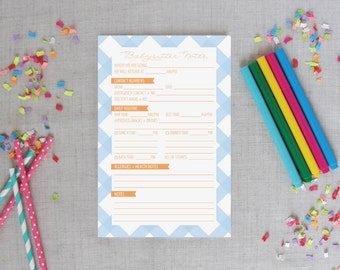 Babysitter Notepad   Buffalo Check Pattern   Personalized Colors   Baby  Sitter Notes   Baby Shower