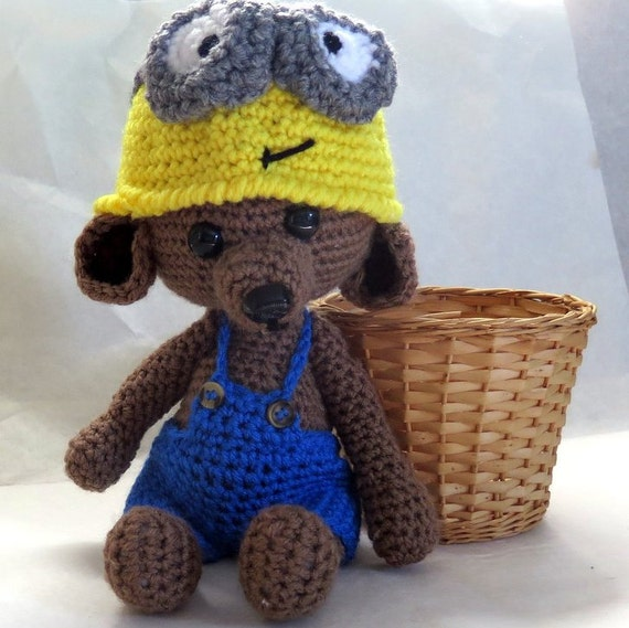 Crochet Bear with Minion Hat Amigurumi Teddy by ...