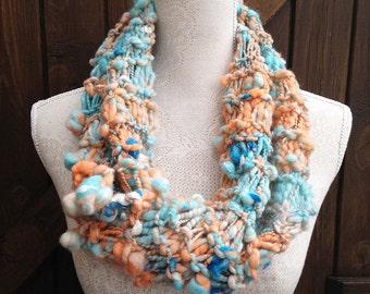 Handspun Art Yarn Scarf - Pastel Sunset - Hand Knitted Scarf - Infinity Scarf - Handspun Art Yarn - OOAK