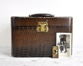 Leather Suitcase, Vintage Train Case, Leather Luggage, 1940's Faux Alligator/Crocodile Suitcase