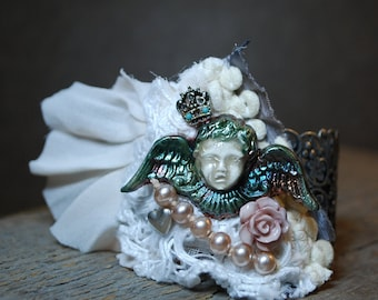 Shabby chic wearable art jewelry assemblage raku angel mori girl filigree cuff bracelet